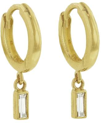 Jennifer Meyer Baguette Diamond Drop Huggie Hoop Earrings - Yellow Gold
