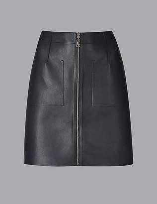 Marks and Spencer Leather Reversible Mini Skirt