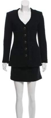 Anna Sui Wool Bouclé Skirt Suit