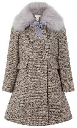 Monsoon Girls' Purple Lavender Tweed Coat