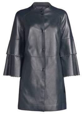 Elie Tahari Tatum Embellished Leather Topper Coat