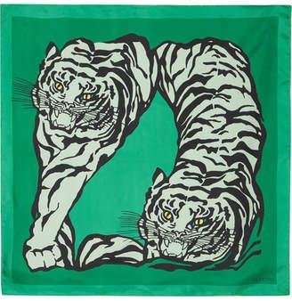 Valentino Printed Silk-twill Scarf - Green