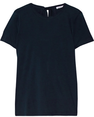 Helmut Lang - Open-back Cotton And Cashmere-blend Jersey T-shirt - Midnight blue $185 thestylecure.com