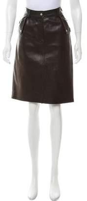 Michael Kors Leather Knee-Length Skirt