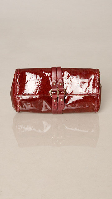 7 For All Mankind Wine Patent Clutch