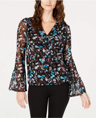 INC International Concepts I.n.c. Surplice Bell-Sleeve Top