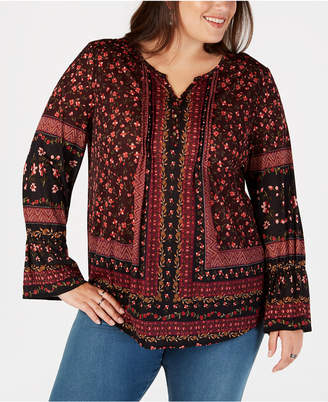 Style&Co. Style & Co Plus Size Mixed-Print Lantern-Sleeve Top, Created for Macy's