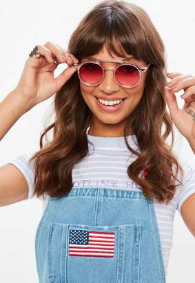 Missguided Pink Lens Double Bar Circular Sunglasses