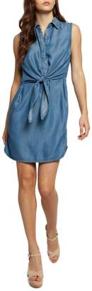 Dex Tie-Waist Chambray Button-Front Dress