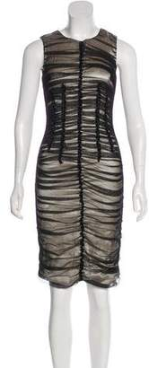 Dolce & Gabbana Sleeveless Mesh-Accent Midi Dress