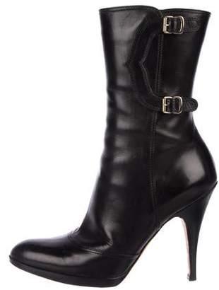 Oscar de la Renta Leather Round-Toe Boots