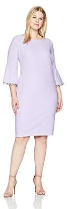 Calvin Klein Women's Plus Size Bell Sleeved Sheath with Novelty Trim Dress