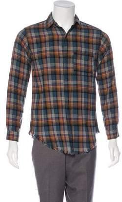 Current/Elliott Distressed Plaid Shirt