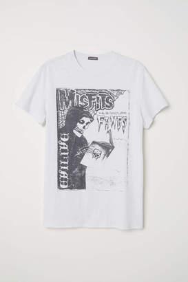 H&M Cotton Jersey T-shirt - Black/Misfits - Men