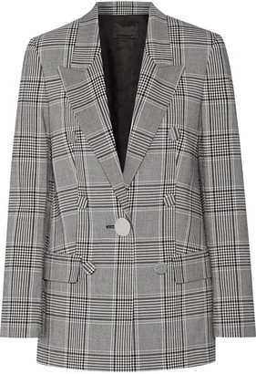 Alexander Wang Leather-trimmed Checked Crepe Blazer - Black