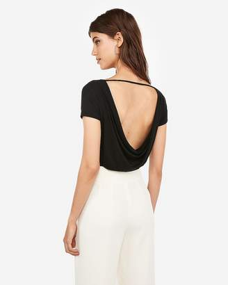 Express One Eleven Open Draped Back Thong Bodysuit