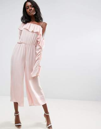 Jumpsuit with One Shoulder and Ruched Sleeve - Blush Asos Clearance Perfect Free Shipping New Styles Nicekicks Cheap Online Perfect Online 6ngAy