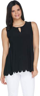Women With Control Attitudes by Renee Jersey Sleeveless Keyhole Top w/ Scallop Hem
