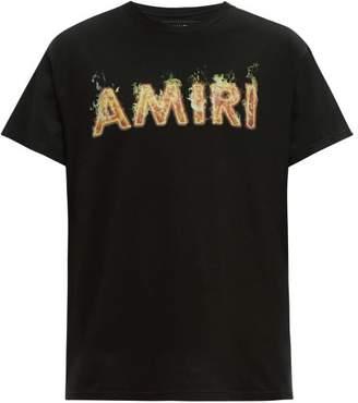 Amiri Flame Logo Print Cotton Jersey T Shirt - Mens - Black Red