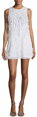Parker Sleeveless Sequined Cocktail Dress, White $480 thestylecure.com