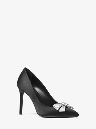Michael Kors Gretel Crystal-Bow Satin Pump