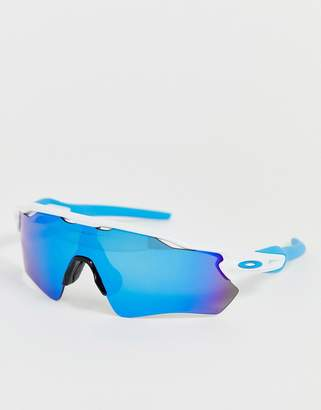 Oakley Radar EV Path sunglasses in white with prizm sapphire lens
