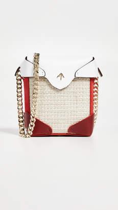 Atelier MANU Micro Pristine Combo Tweed Box Bag with Gold Chain