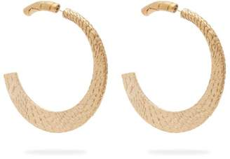 Saint Laurent Snake Skin Engraved Brass Hoops - Womens - Gold