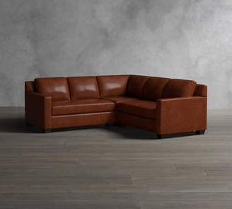 Pottery Barn York Square Arm Leather 3-Piece L-Shaped Corner Sectional