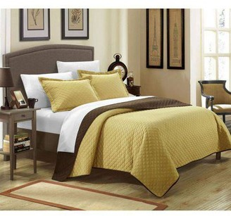 Chic Home 7-Piece Ressa Reversible Color Block Modern Design Quilt with Shams Set