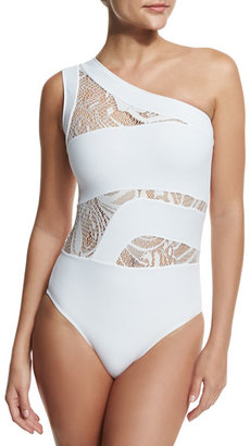 OYE Swimwear Elly One-Shoulder Lace-Panel One-Piece Swimsuit $350 thestylecure.com