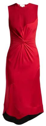 Esteban Cortazar Knotted Stretch Knit Midi Dress - Womens - Red