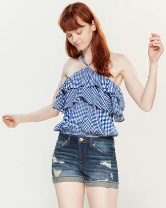 Almost Famous Crave Fame By Gingham Ruffle Halter Top
