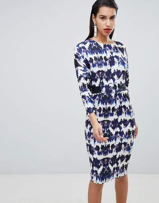 Asos DESIGN Midi Dress With Elastic Waist Detail In Ink Splash Print