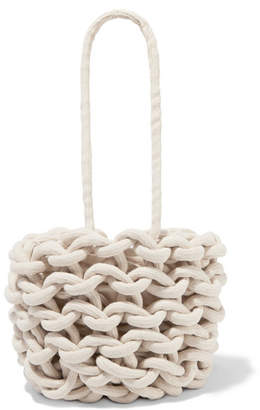Alienina Julia Woven Cotton Bucket Bag - Off-white