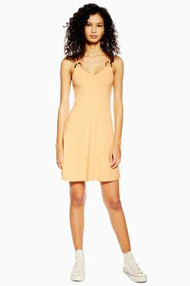 Topshop Womens Horn Ring Flippy Dress - Soft Apricot