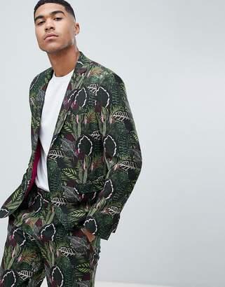 Asos DESIGN skinny suit jacket in green botanical print in linen look