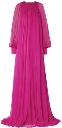 Gucci Gathered Crystal-embellished Silk-chiffon Gown - Magenta