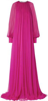 Gucci Gathered Crystal-embellished Silk-chiffon Gown - Magenta
