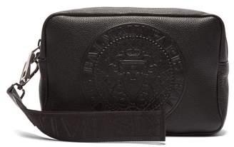 Balmain Logo Embossed Leather Wash Bag - Mens - Black