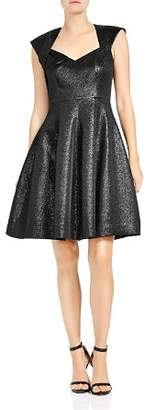 Halston Metallic Jacquard Fit-and-Flare Dress