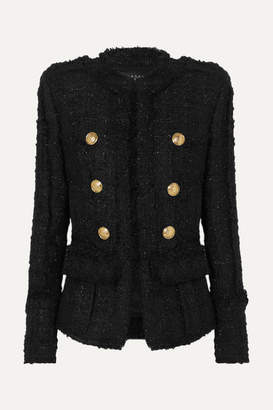 Balmain Double-breasted Frayed Metallic Tweed Blazer - Black