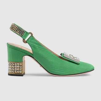 Gucci Moire mid-heel pump with crystalG
