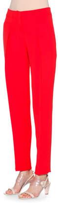 Giorgio Armani Slim-Leg Silk-Cady Pants, Scarlet