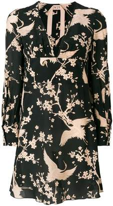 No.21 V-neck bird print dress
