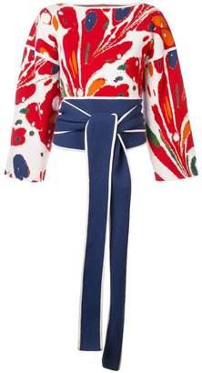 Rosie Assoulin cashmere tied waist floral sweater