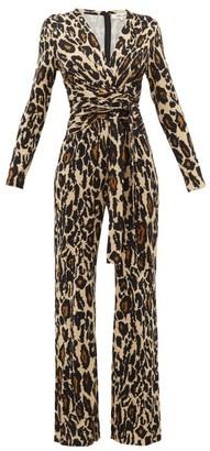 Diane von Furstenberg Melinda Leopard Print Silk Jersey Jumpsuit - Womens - Animal