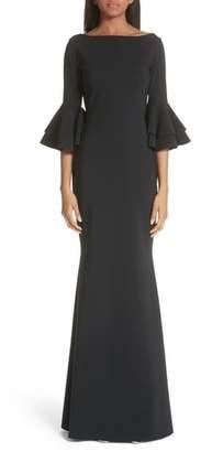 Chiara Boni Iva Ruffle Bell Sleeve Gown