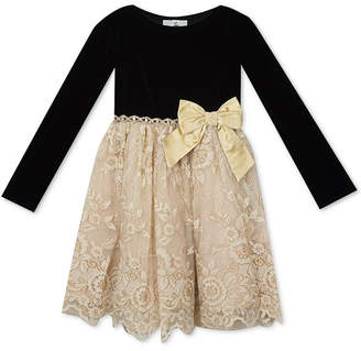 Rare Editions Little Girls Embellished Velvet Lace Dress