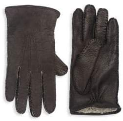 Saks Fifth Avenue Men's COLLECTION Shearling-Lined Deerskin Leather Gloves - Cognac Brown - Size Medium